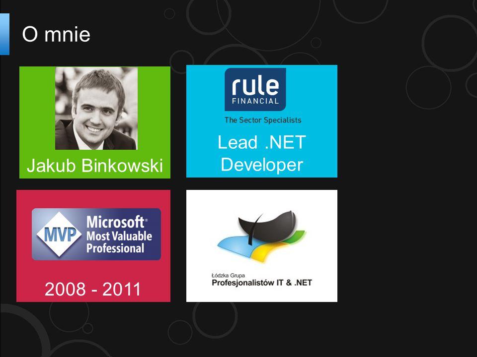 O mnie Jakub Binkowski 2008 - 2011 Lead.NET Developer