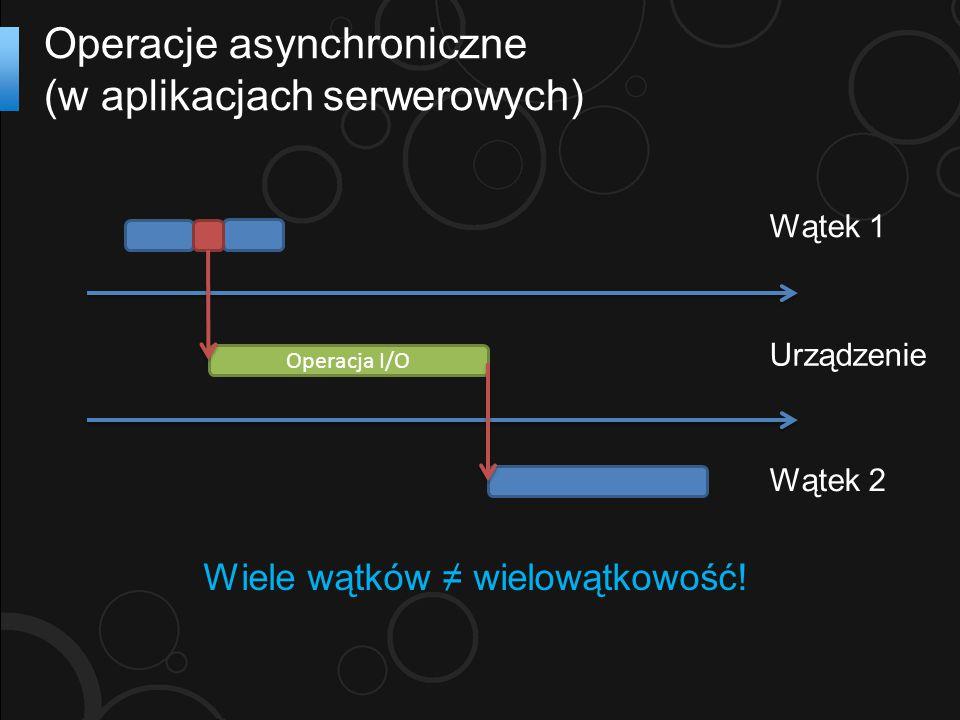 Operacje asynchroniczne (w aplikacjach serwerowych) Operacja I/O Wątek 1 Urządzenie Wątek 2 Wiele wątków ≠ wielowątkowość!