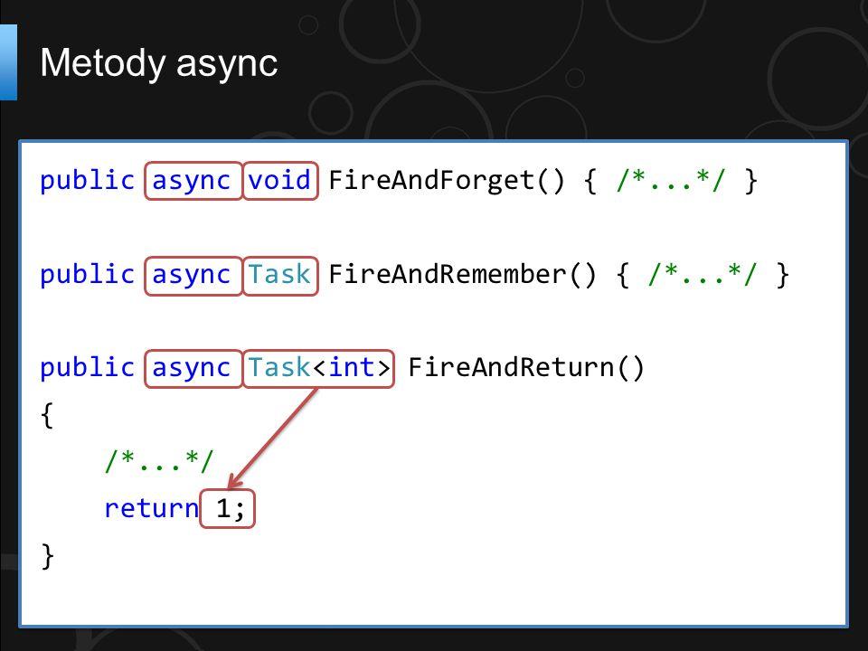 public async void FireAndForget() { /*...*/ } public async Task FireAndRemember() { /*...*/ } public async Task FireAndReturn() { /*...*/ return 1; }