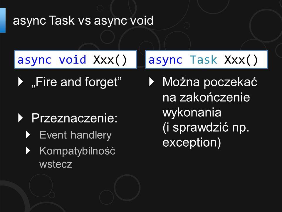 """ """"Fire and forget""""  Przeznaczenie:  Event handlery  Kompatybilność wstecz async Task vs async void  Można poczekać na zakończenie wykonania (i sp"""