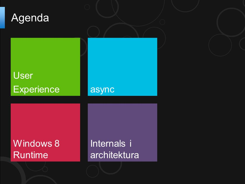 Agenda User Experienceasync Windows 8 Runtime Internals i architektura