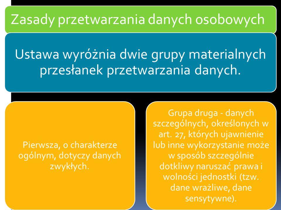 Zasady przetwarzania danych osobowych Ustawa wyróżnia dwie grupy materialnych przesłanek przetwarzania danych. Pierwsza, o charakterze ogólnym, dotycz