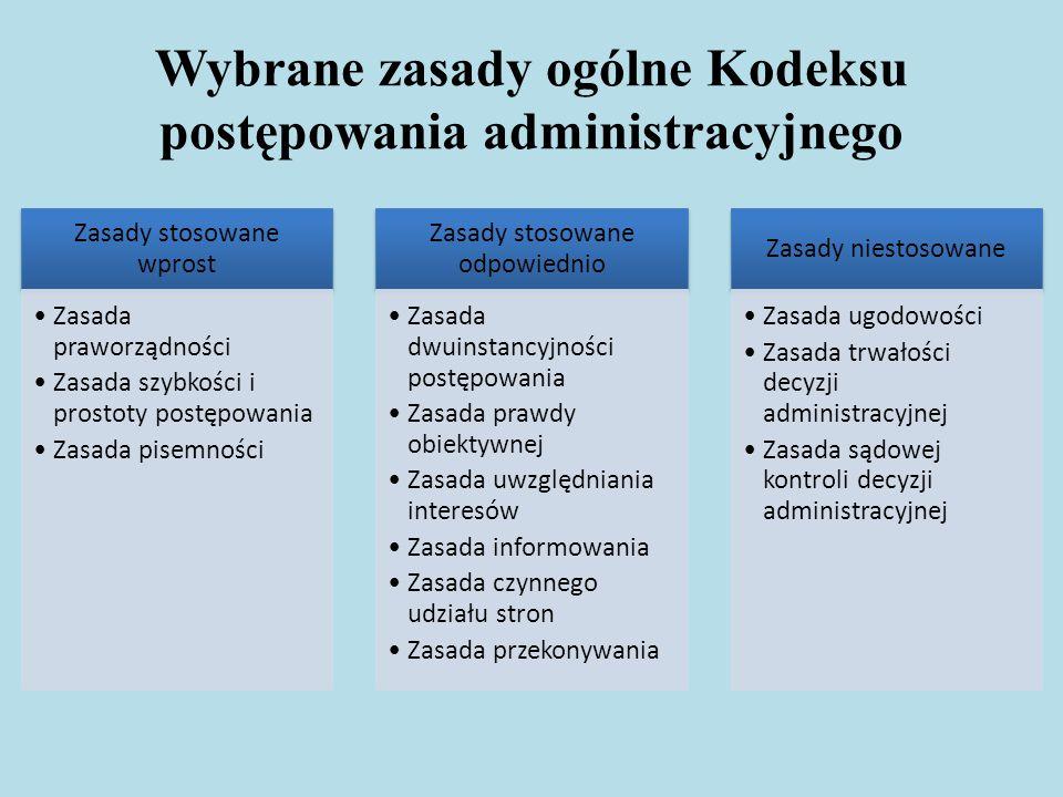 Wybrane zasady ogólne Kodeksu postępowania administracyjnego Zasady stosowane wprost Zasada praworządności Zasada szybkości i prostoty postępowania Za