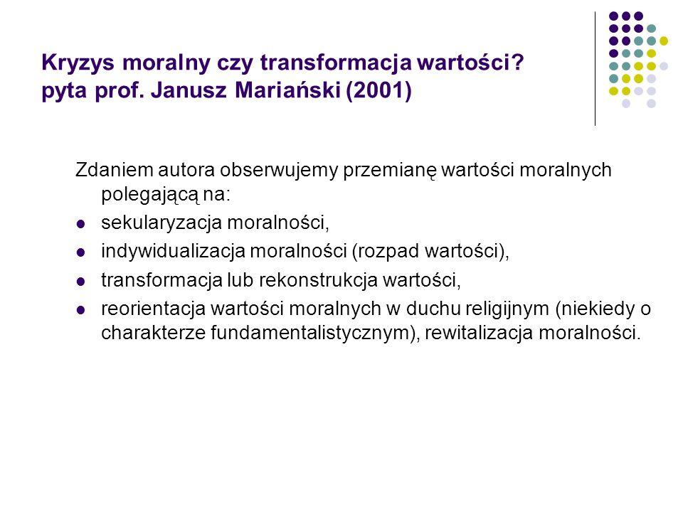 Kryzys moralny czy transformacja wartości? pyta prof. Janusz Mariański (2001) Zdaniem autora obserwujemy przemianę wartości moralnych polegającą na: s