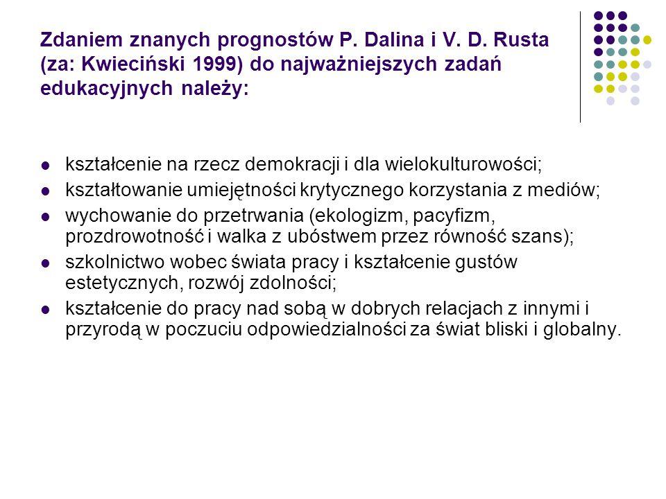 Zdaniem znanych prognostów P. Dalina i V. D. Rusta (za: Kwieciński 1999) do najważniejszych zadań edukacyjnych należy: kształcenie na rzecz demokracji