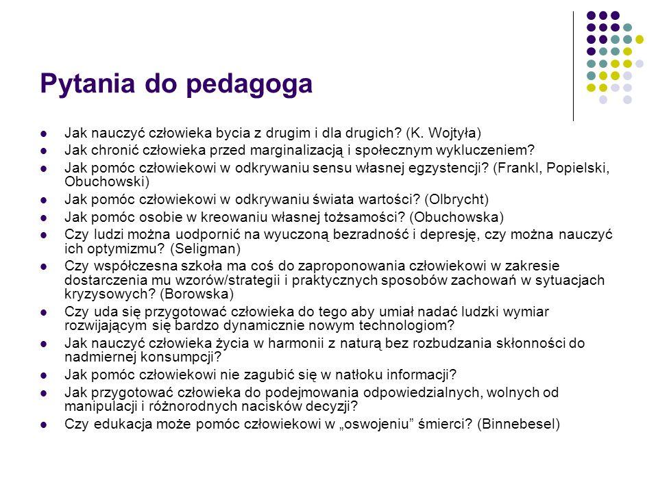 Pytania do pedagoga Jak nauczyć człowieka bycia z drugim i dla drugich? (K. Wojtyła) Jak chronić człowieka przed marginalizacją i społecznym wykluczen
