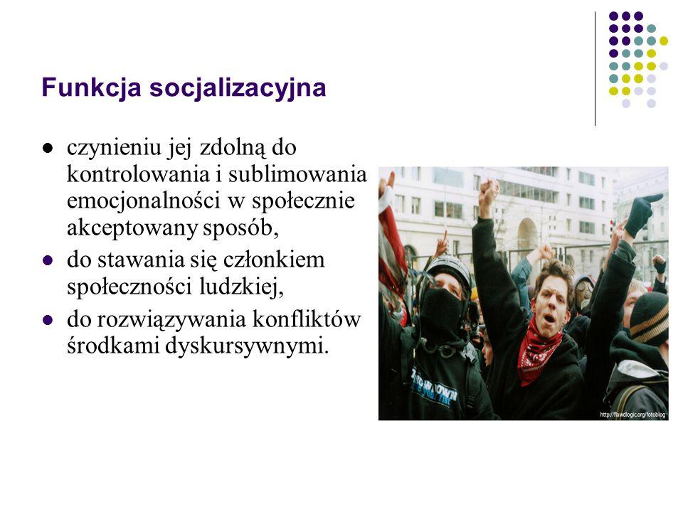 Funkcja socjalizacyjna czynieniu jej zdolną do kontrolowania i sublimowania emocjonalności w społecznie akceptowany sposób, do stawania się członkiem społeczności ludzkiej, do rozwiązywania konfliktów środkami dyskursywnymi.