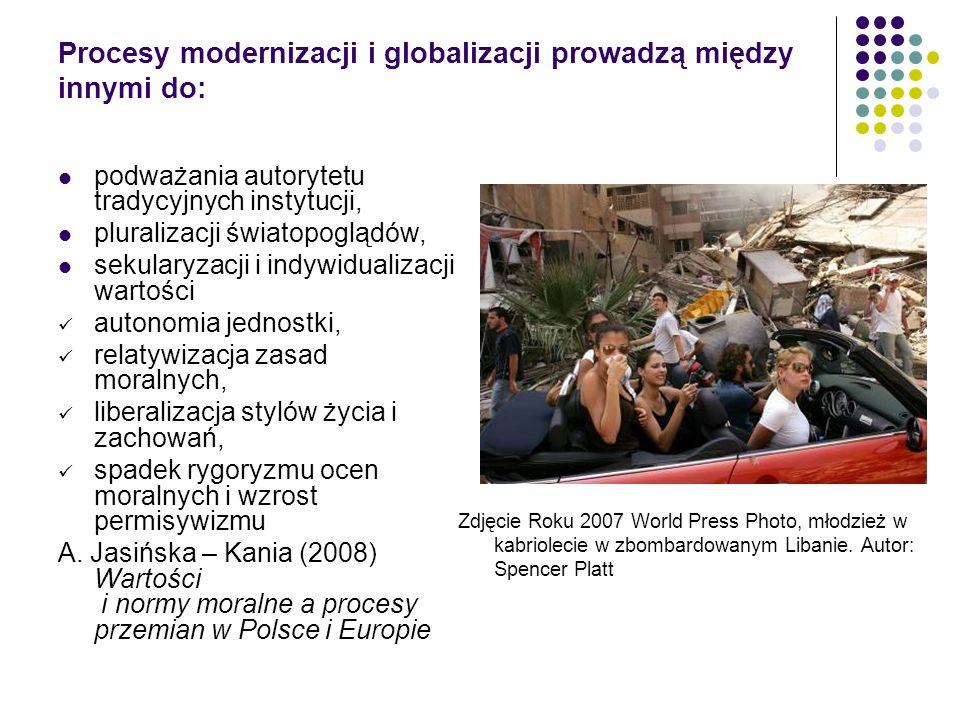 Procesy modernizacji i globalizacji prowadzą między innymi do: podważania autorytetu tradycyjnych instytucji, pluralizacji światopoglądów, sekularyzac