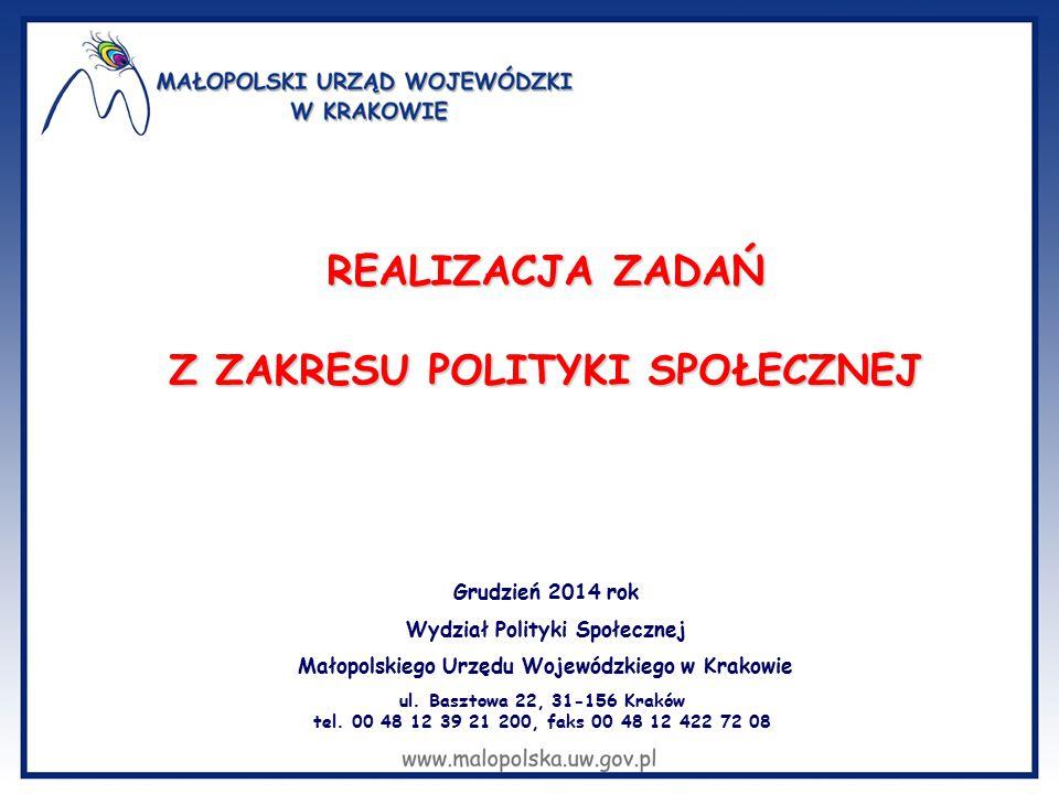 W Wydziale Polityki Społecznej Małopolskiego Urzędu Wojewódzkiego nadzorowane są zadania zlecone i własne z zakresu: Pomocy społecznej Pomocy społecznej Wspierania rodziny i Wspierania rodziny i pieczy zastępczej Rynku pracy Rynku pracy Ochrony zdrowia Ochrony zdrowia