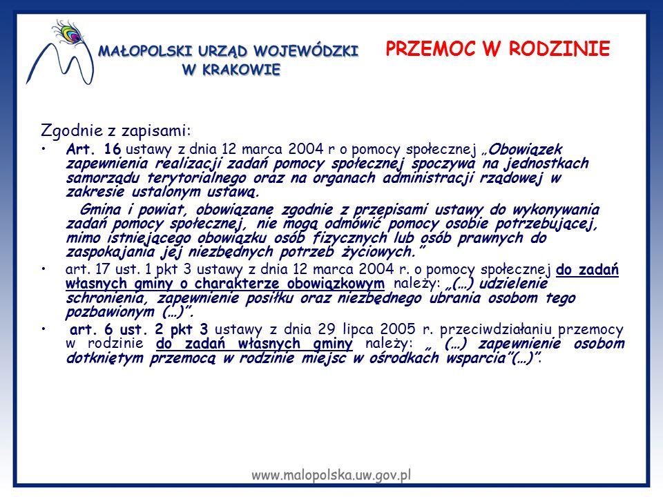 """Zgodnie z zapisami: Art. 16 ustawy z dnia 12 marca 2004 r o pomocy społecznej """"Obowiązek zapewnienia realizacji zadań pomocy społecznej spoczywa na je"""