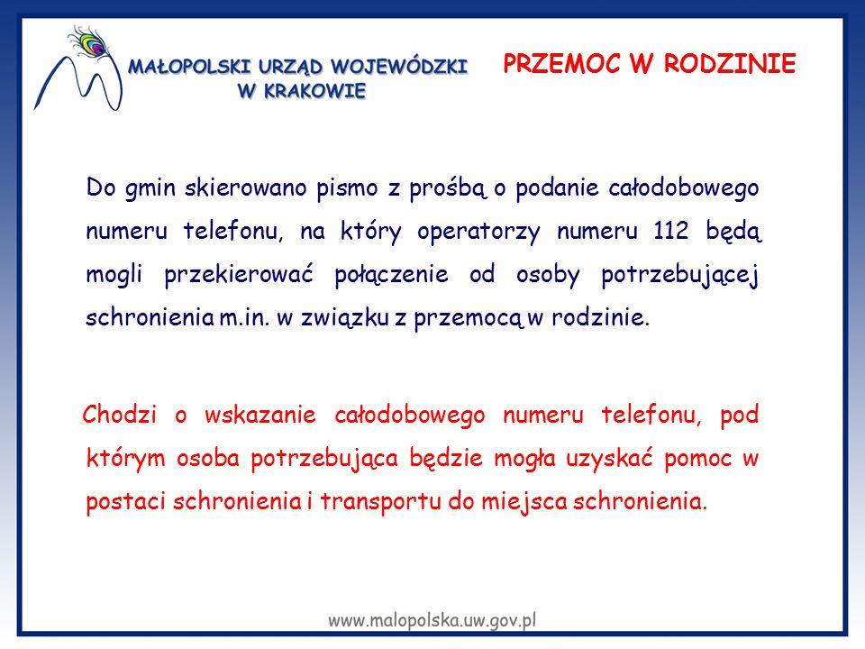 Do gmin skierowano pismo z prośbą o podanie całodobowego numeru telefonu, na który operatorzy numeru 112 będą mogli przekierować połączenie od osoby p