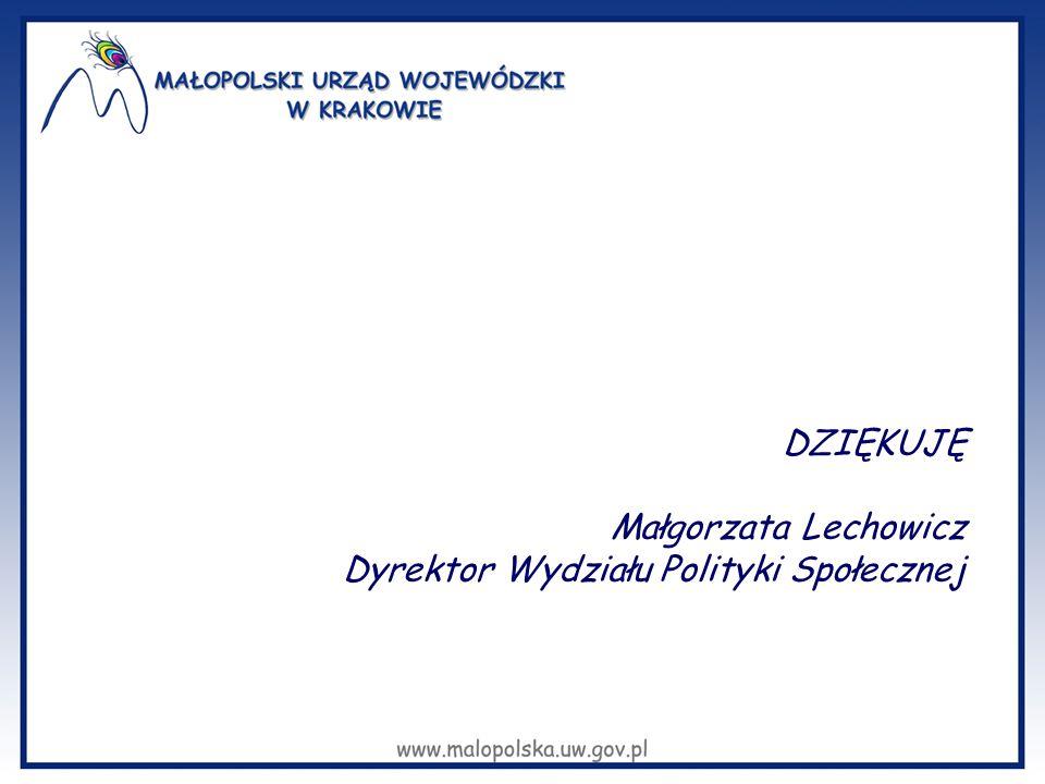 DZIĘKUJĘ Małgorzata Lechowicz Dyrektor Wydziału Polityki Społecznej