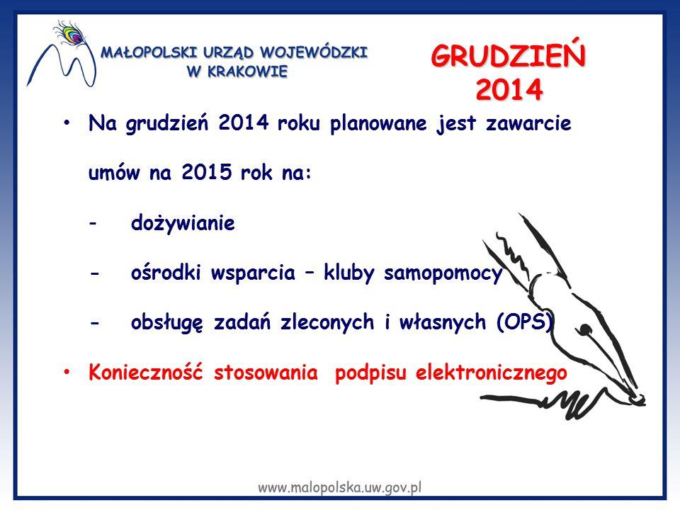 GRUDZIEŃ 2014 Na grudzień 2014 roku planowane jest zawarcie umów na 2015 rok na: -dożywianie -ośrodki wsparcia – kluby samopomocy -obsługę zadań zleco