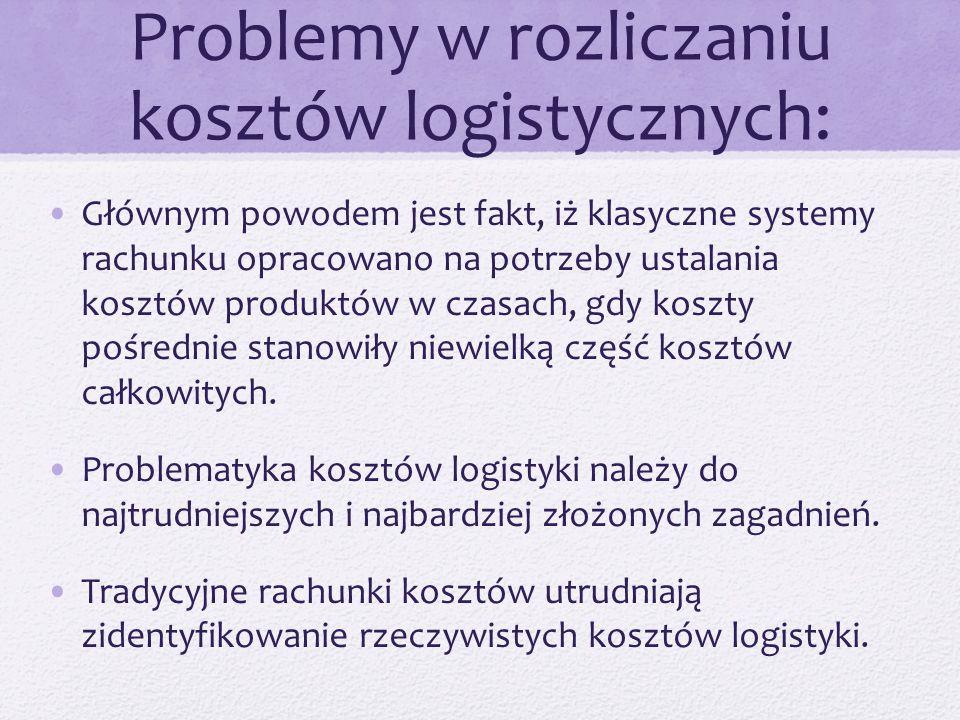 Problemy w rozliczaniu kosztów logistycznych: Głównym powodem jest fakt, iż klasyczne systemy rachunku opracowano na potrzeby ustalania kosztów produktów w czasach, gdy koszty pośrednie stanowiły niewielką część kosztów całkowitych.