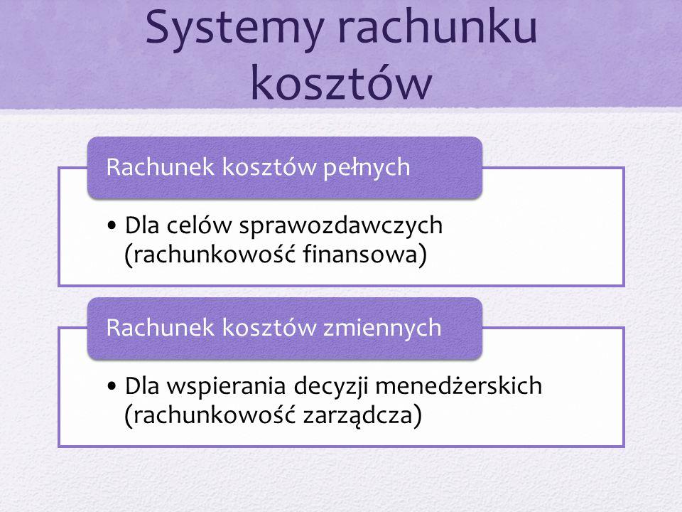 Systemy rachunku kosztów Dla celów sprawozdawczych (rachunkowość finansowa) Rachunek kosztów pełnych Dla wspierania decyzji menedżerskich (rachunkowość zarządcza) Rachunek kosztów zmiennych