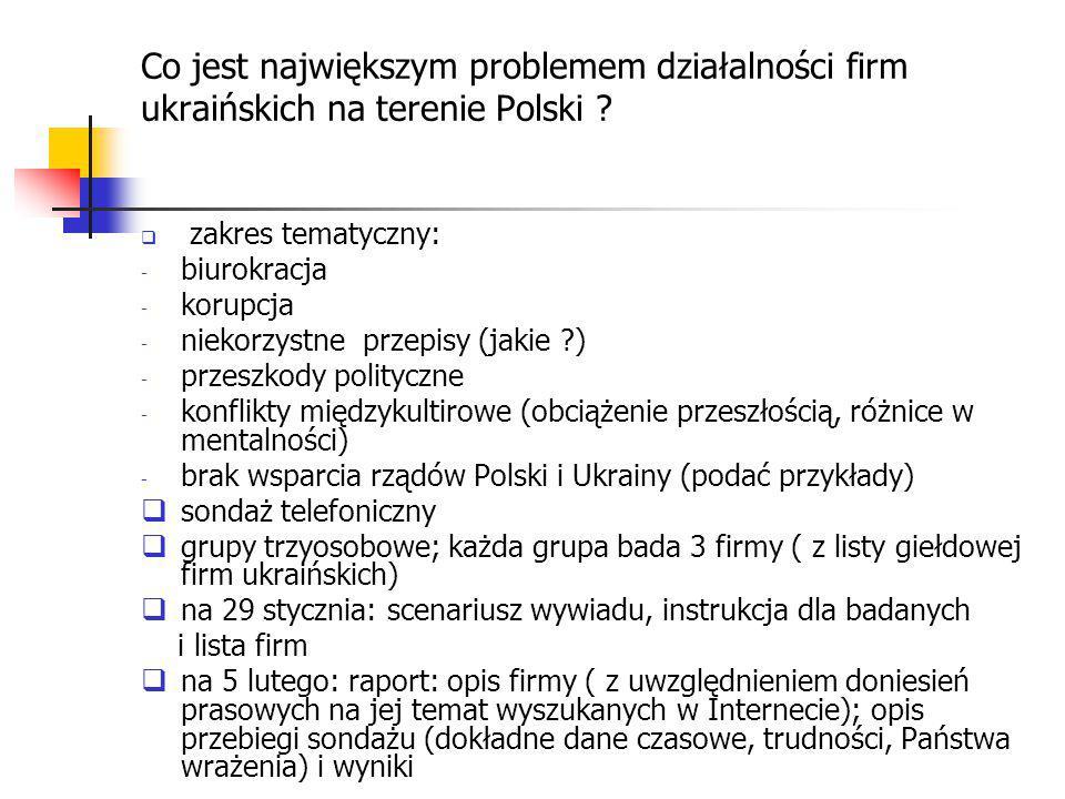 Co jest największym problemem działalności firm ukraińskich na terenie Polski ?  zakres tematyczny: - biurokracja - korupcja - niekorzystne przepisy