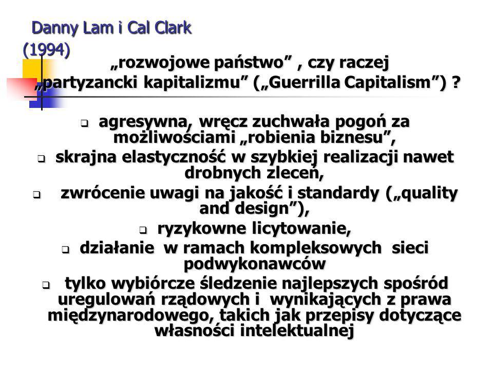"""Danny Lam i Cal Clark (1994) Danny Lam i Cal Clark (1994) """"rozwojowe państwo"""", czy raczej """"rozwojowe państwo"""", czy raczej """"partyzancki kapitalizmu"""" ("""""""
