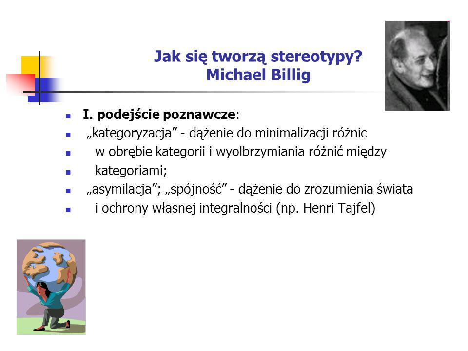"""Jak się tworzą stereotypy? Michael Billig I. podejście poznawcze: """"kategoryzacja"""" - dążenie do minimalizacji różnic w obrębie kategorii i wyolbrzymian"""