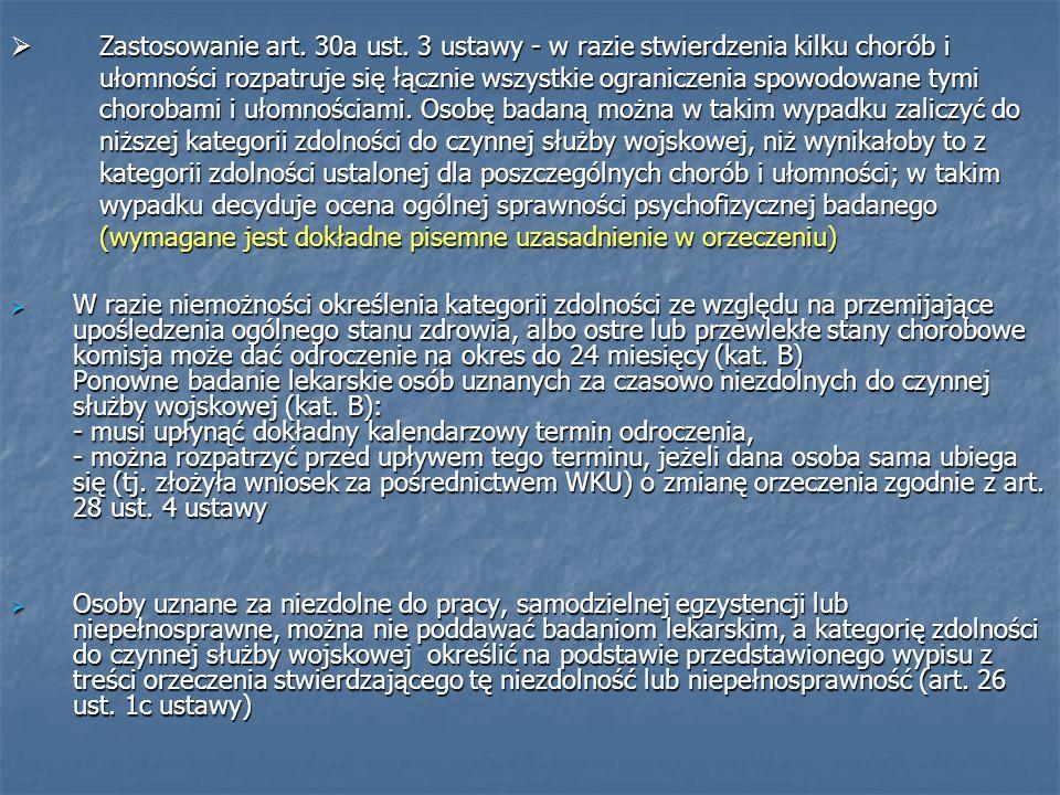  Zastosowanie art. 30a ust.