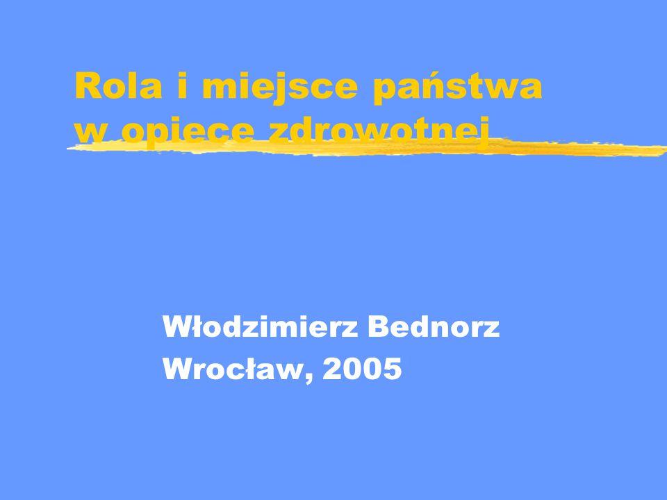 Rola i miejsce państwa w opiece zdrowotnej Włodzimierz Bednorz Wrocław, 2005