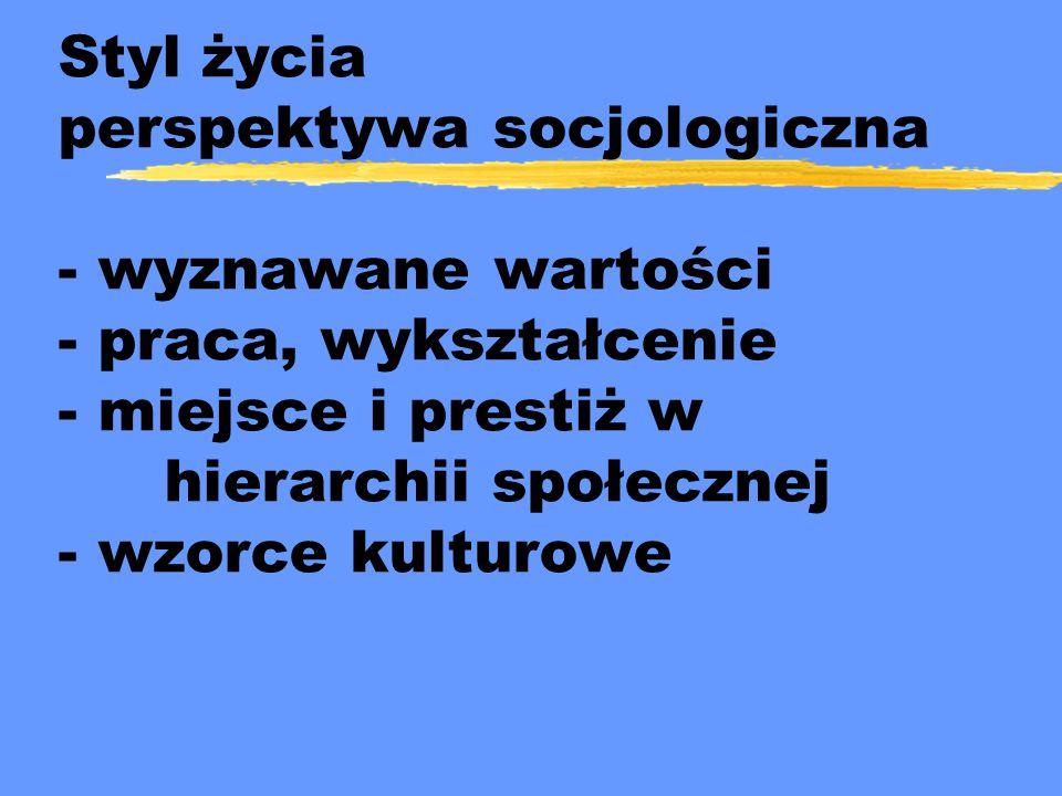 Styl życia perspektywa socjologiczna - wyznawane wartości - praca, wykształcenie - miejsce i prestiż w hierarchii społecznej - wzorce kulturowe