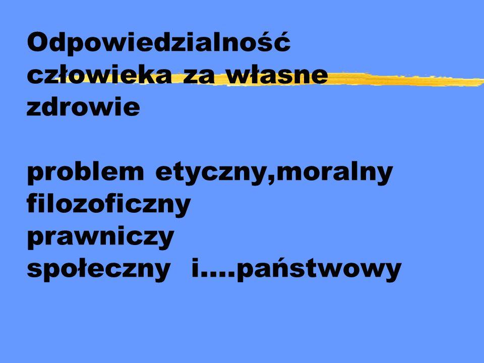 Odpowiedzialność człowieka za własne zdrowie problem etyczny,moralny filozoficzny prawniczy społeczny i....państwowy