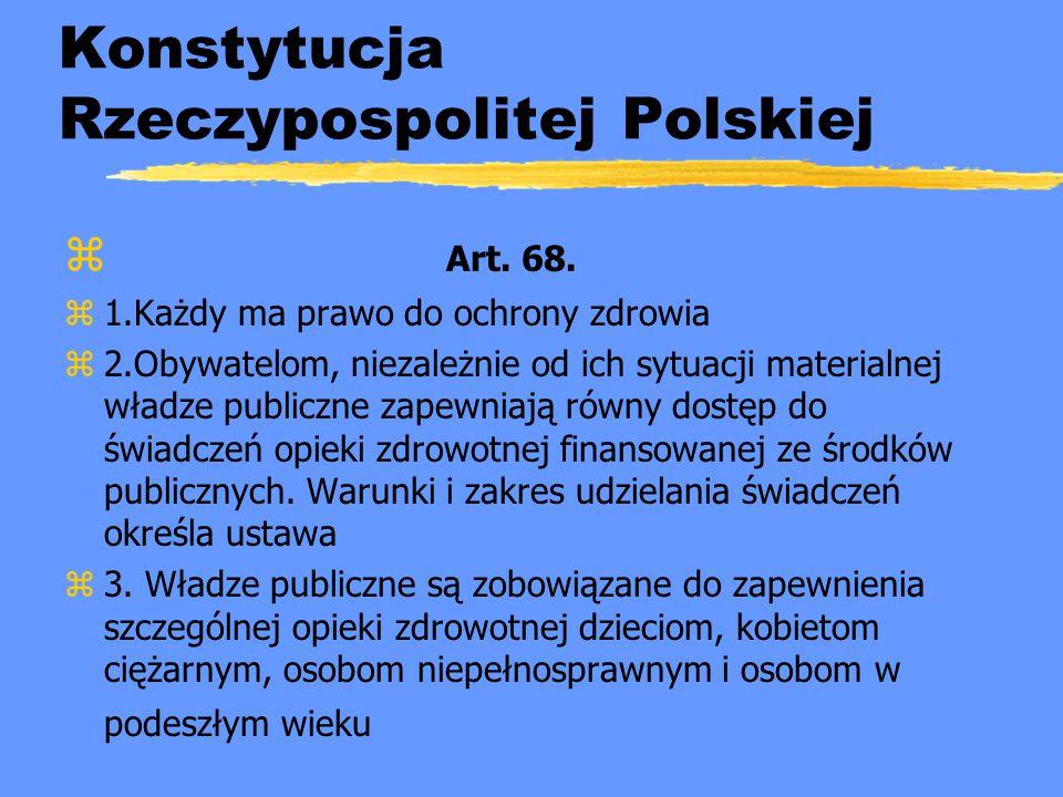 Konstytucja Rzeczypospolitej Polskiej z Art. 68. z1.Każdy ma prawo do ochrony zdrowia z2.Obywatelom, niezależnie od ich sytuacji materialnej władze pu