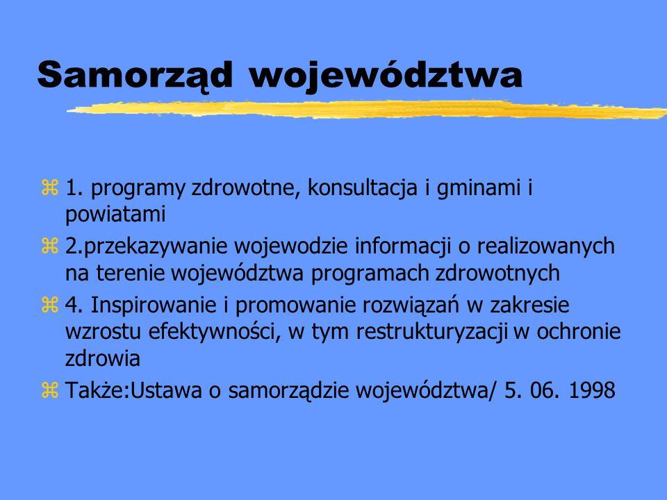 Samorząd województwa z1. programy zdrowotne, konsultacja i gminami i powiatami z2.przekazywanie wojewodzie informacji o realizowanych na terenie wojew