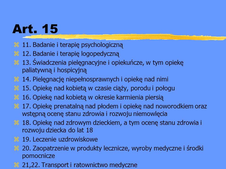 Art. 15 z11. Badanie i terapię psychologiczną z12. Badanie i terapię logopedyczną z13. Świadczenia pielęgnacyjne i opiekuńcze, w tym opiekę paliatywną