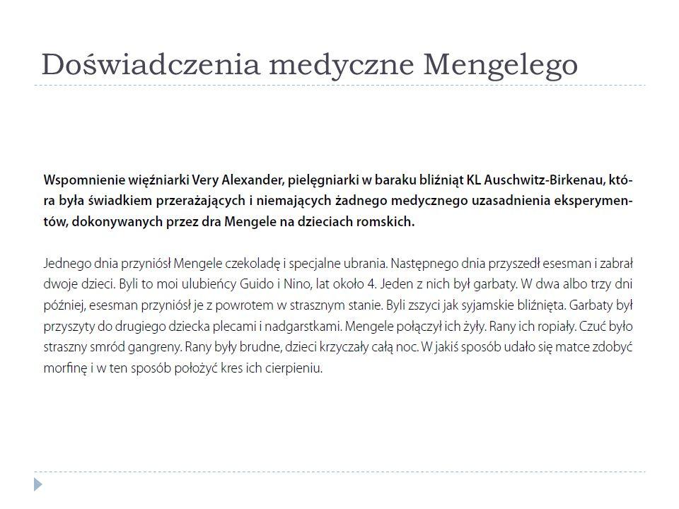 Doświadczenia medyczne Mengelego