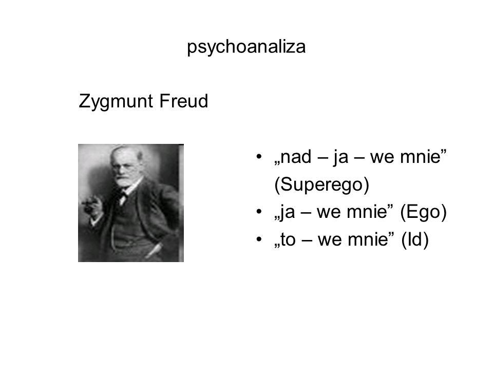 """psychoanaliza Zygmunt Freud """"nad – ja – we mnie (Superego) """"ja – we mnie (Ego) """"to – we mnie (Id)"""