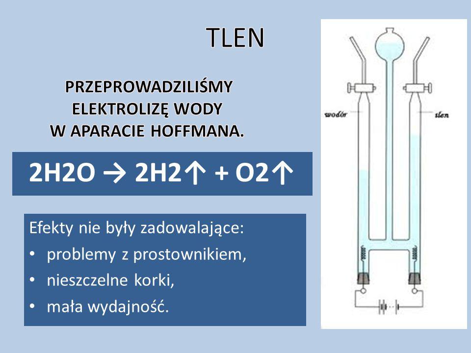 2H2O → 2H2↑ + O2↑ Efekty nie były zadowalające: problemy z prostownikiem, nieszczelne korki, mała wydajność.