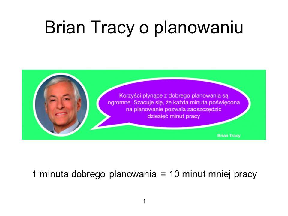 Brian Tracy o planowaniu 1 minuta dobrego planowania = 10 minut mniej pracy 4