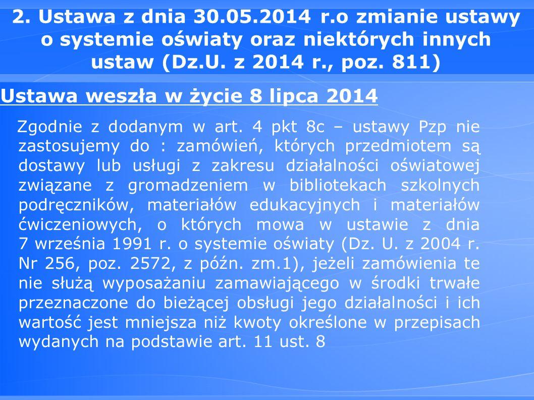 2. Ustawa z dnia 30.05.2014 r.o zmianie ustawy o systemie oświaty oraz niektórych innych ustaw (Dz.U. z 2014 r., poz. 811) Ustawa weszła w życie 8 lip