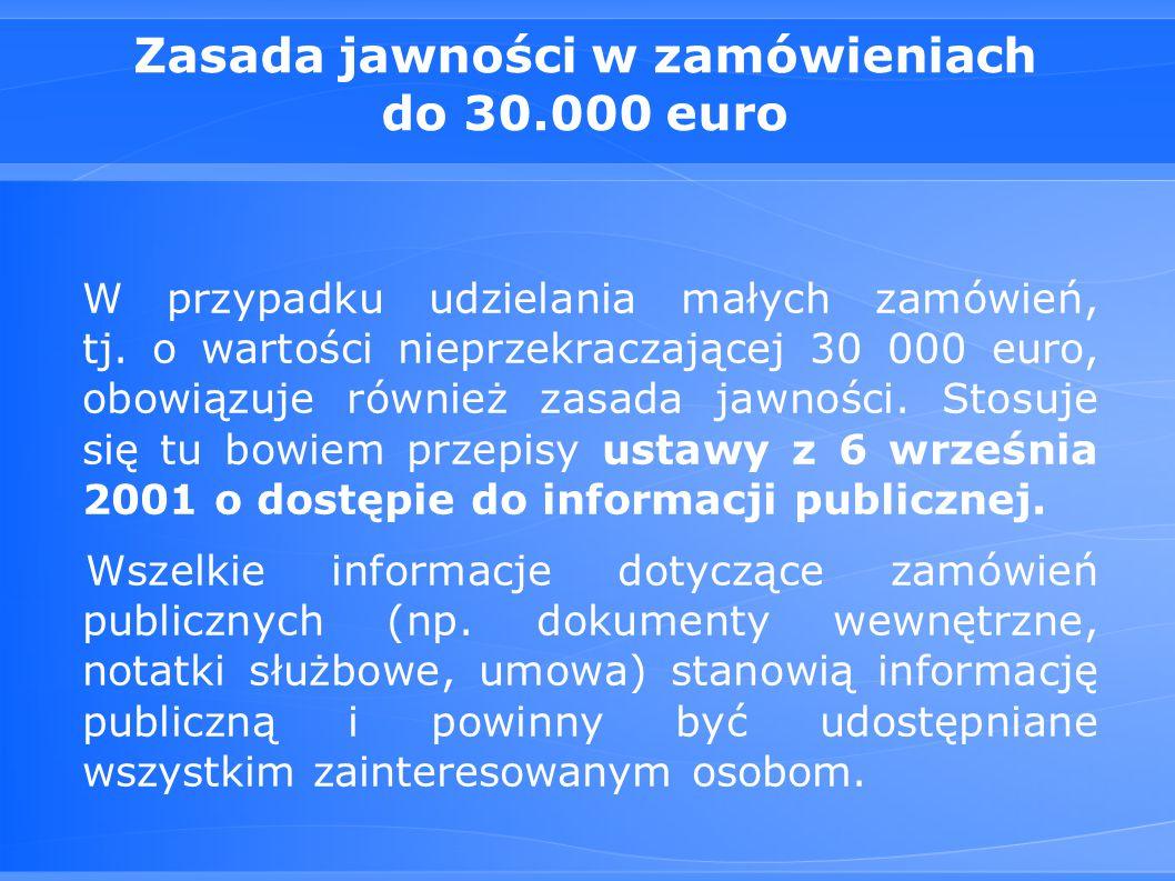 Zasada jawności w zamówieniach do 30.000 euro W przypadku udzielania małych zamówień, tj.