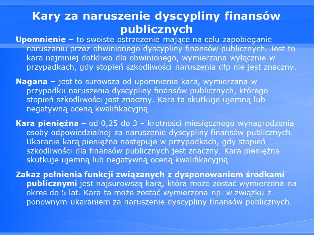 Kary za naruszenie dyscypliny finansów publicznych Upomnienie – to swoiste ostrzeżenie mające na celu zapobieganie naruszaniu przez obwinionego dyscypliny finansów publicznych.