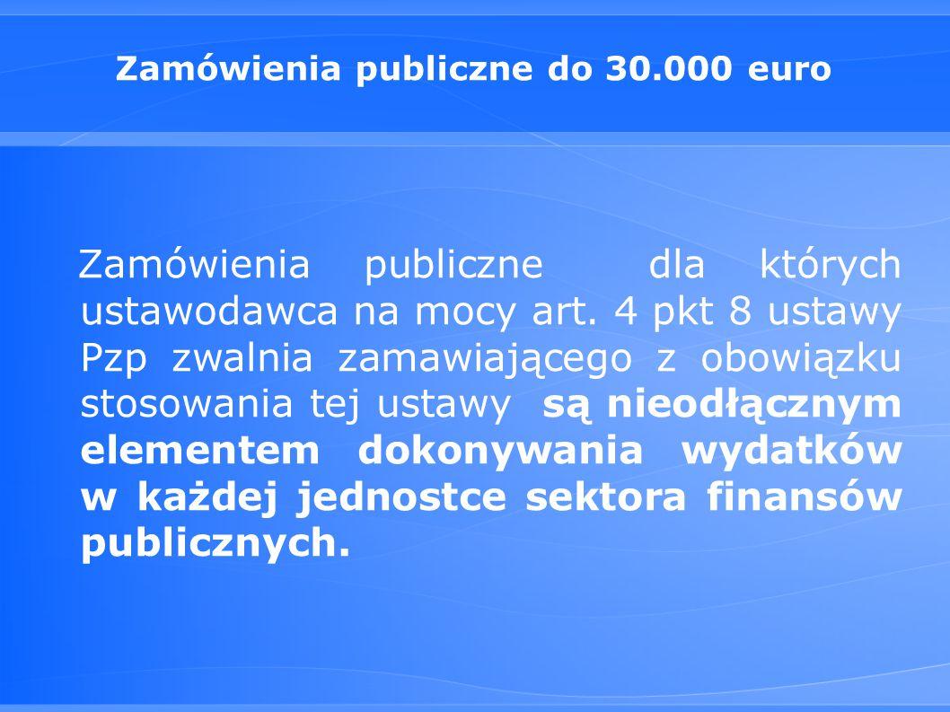 Zamówienia publiczne do 30.000 euro Zamówienia publiczne dla których ustawodawca na mocy art.