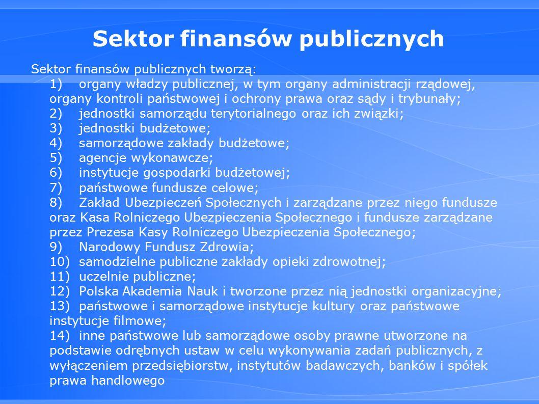Sektor finansów publicznych Sektor finansów publicznych tworzą: 1)organy władzy publicznej, w tym organy administracji rządowej, organy kontroli państwowej i ochrony prawa oraz sądy i trybunały; 2)jednostki samorządu terytorialnego oraz ich związki; 3)jednostki budżetowe; 4)samorządowe zakłady budżetowe; 5)agencje wykonawcze; 6)instytucje gospodarki budżetowej; 7)państwowe fundusze celowe; 8)Zakład Ubezpieczeń Społecznych i zarządzane przez niego fundusze oraz Kasa Rolniczego Ubezpieczenia Społecznego i fundusze zarządzane przez Prezesa Kasy Rolniczego Ubezpieczenia Społecznego; 9)Narodowy Fundusz Zdrowia; 10)samodzielne publiczne zakłady opieki zdrowotnej; 11)uczelnie publiczne; 12)Polska Akademia Nauk i tworzone przez nią jednostki organizacyjne; 13)państwowe i samorządowe instytucje kultury oraz państwowe instytucje filmowe; 14)inne państwowe lub samorządowe osoby prawne utworzone na podstawie odrębnych ustaw w celu wykonywania zadań publicznych, z wyłączeniem przedsiębiorstw, instytutów badawczych, banków i spółek prawa handlowego