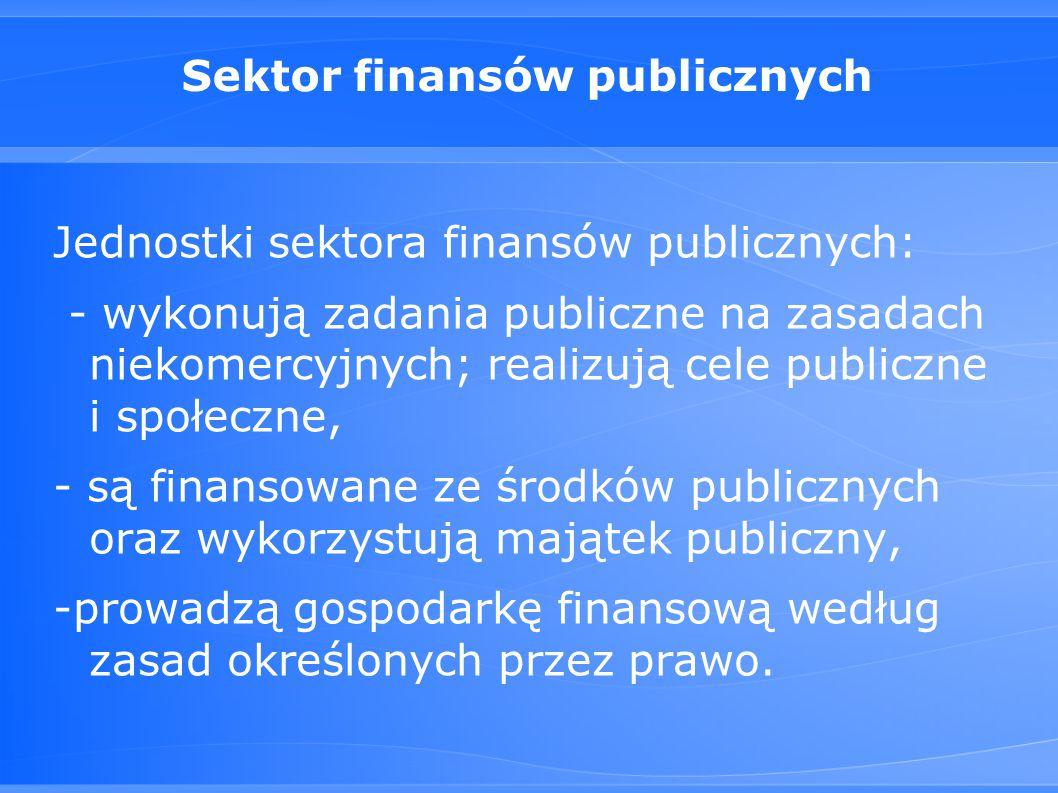 Sektor finansów publicznych Jednostki sektora finansów publicznych: - wykonują zadania publiczne na zasadach niekomercyjnych; realizują cele publiczne i społeczne, - są finansowane ze środków publicznych oraz wykorzystują majątek publiczny, -prowadzą gospodarkę finansową według zasad określonych przez prawo.