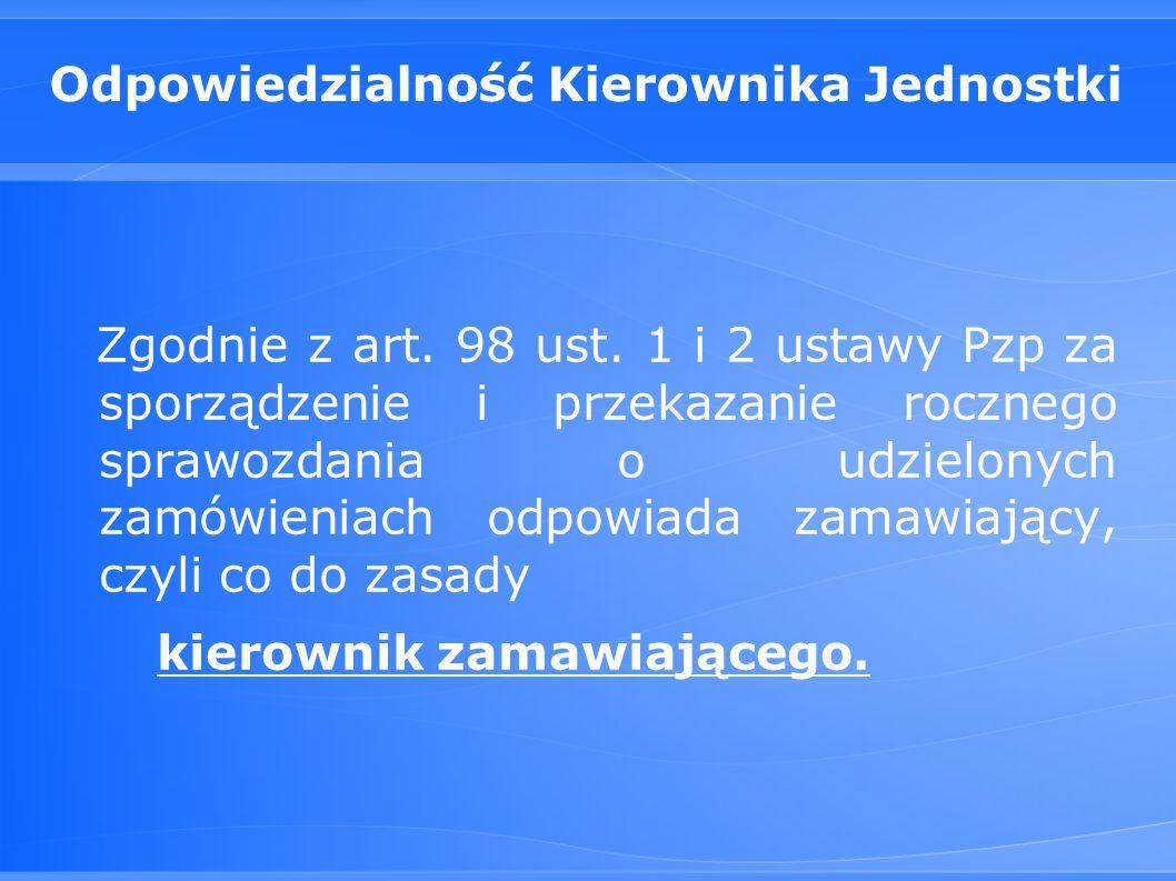 Odpowiedzialność Kierownika Jednostki Zgodnie z art.