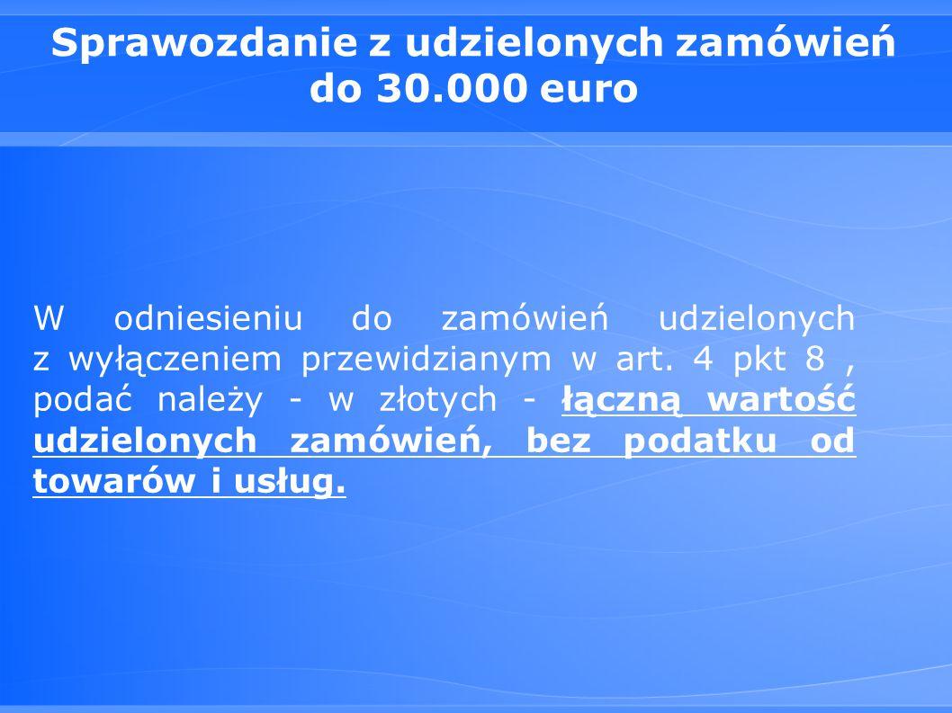Sprawozdanie z udzielonych zamówień do 30.000 euro W odniesieniu do zamówień udzielonych z wyłączeniem przewidzianym w art.