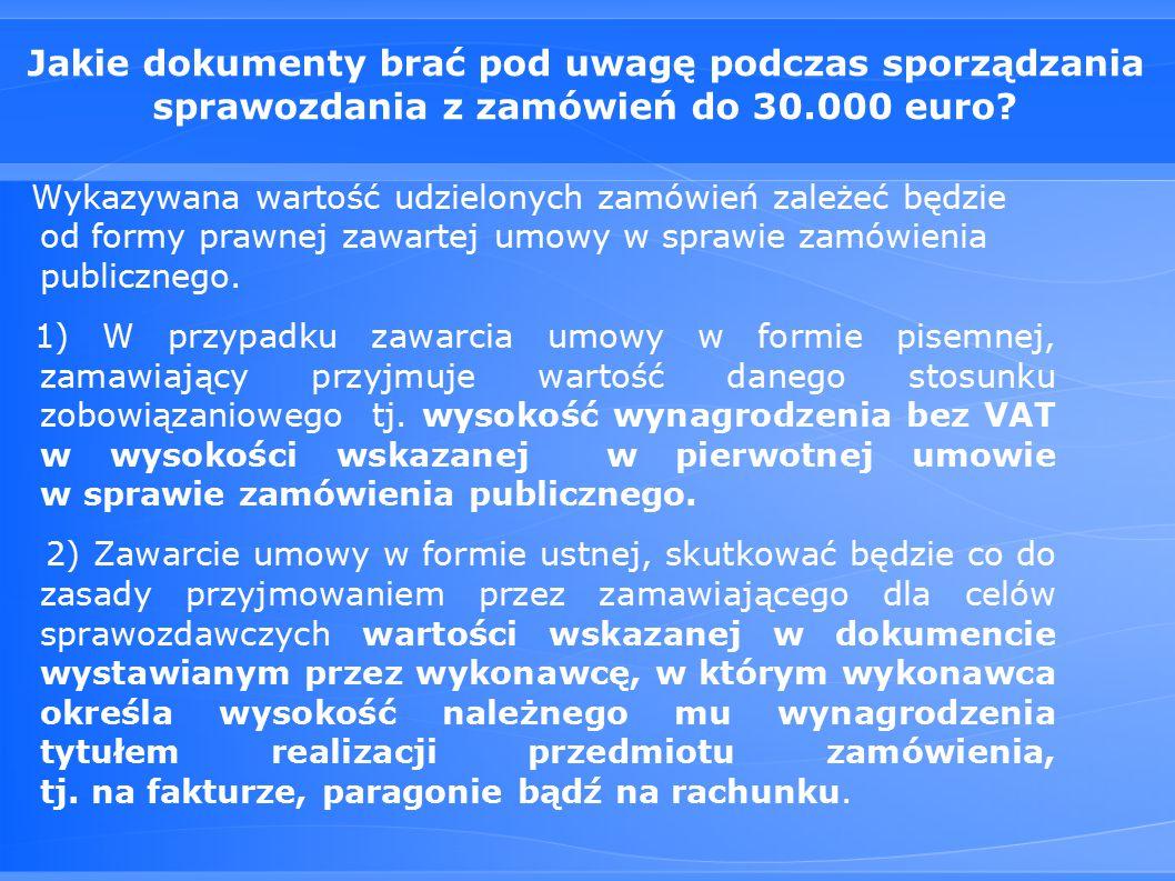 Jakie dokumenty brać pod uwagę podczas sporządzania sprawozdania z zamówień do 30.000 euro.
