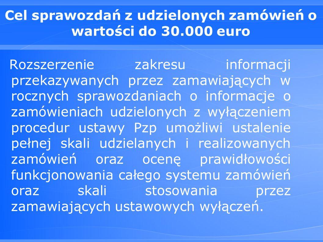 Cel sprawozdań z udzielonych zamówień o wartości do 30.000 euro Rozszerzenie zakresu informacji przekazywanych przez zamawiających w rocznych sprawozdaniach o informacje o zamówieniach udzielonych z wyłączeniem procedur ustawy Pzp umożliwi ustalenie pełnej skali udzielanych i realizowanych zamówień oraz ocenę prawidłowości funkcjonowania całego systemu zamówień oraz skali stosowania przez zamawiających ustawowych wyłączeń.
