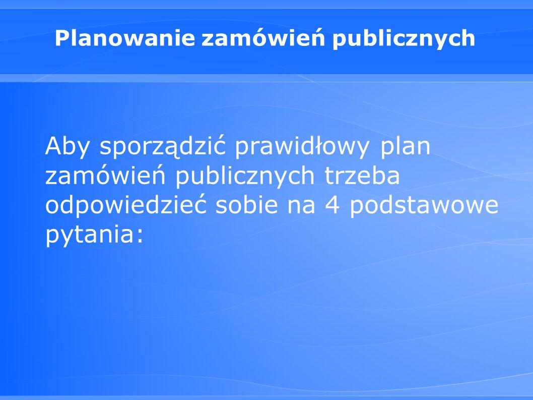 Planowanie zamówień publicznych Aby sporządzić prawidłowy plan zamówień publicznych trzeba odpowiedzieć sobie na 4 podstawowe pytania: