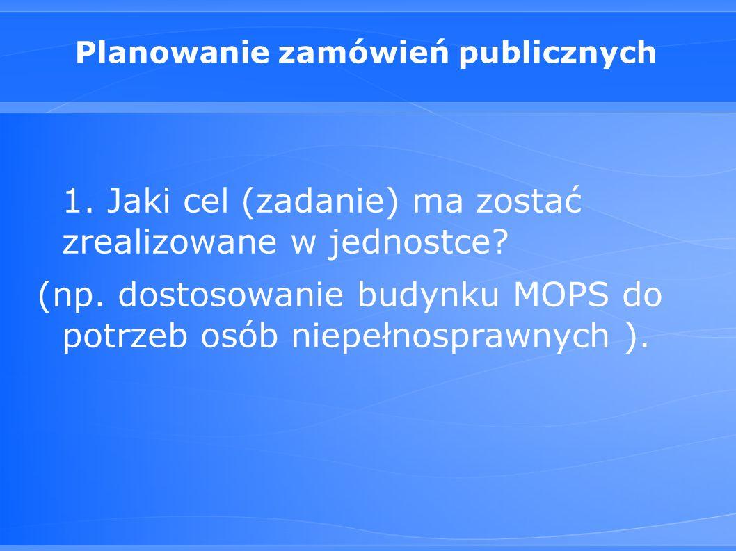 Planowanie zamówień publicznych 1.Jaki cel (zadanie) ma zostać zrealizowane w jednostce.