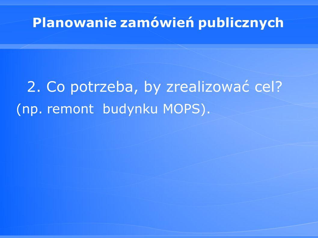 Planowanie zamówień publicznych 2. Co potrzeba, by zrealizować cel? (np. remont budynku MOPS).