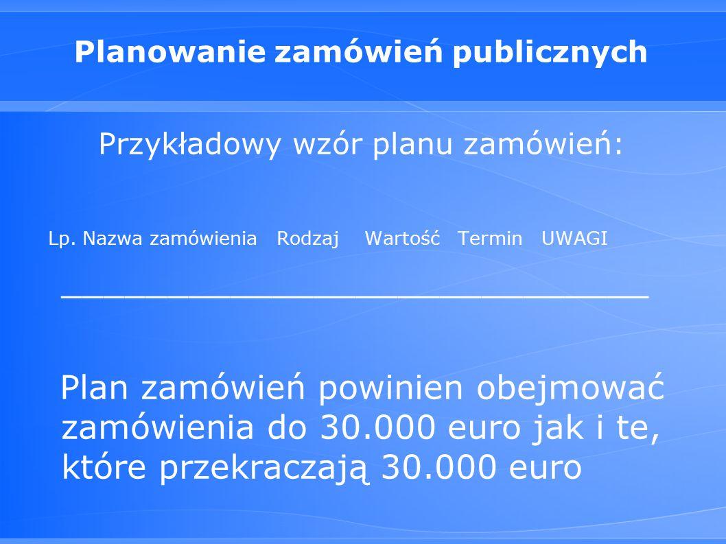 Planowanie zamówień publicznych Przykładowy wzór planu zamówień: Lp.