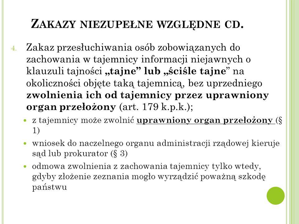 """Z AKAZY NIEZUPEŁNE WZGLĘDNE CD. 4. Zakaz przesłuchiwania osób zobowiązanych do zachowania w tajemnicy informacji niejawnych o klauzuli tajności """"tajne"""