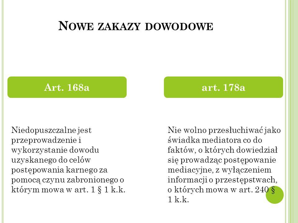 N OWE ZAKAZY DOWODOWE Art.168aart.