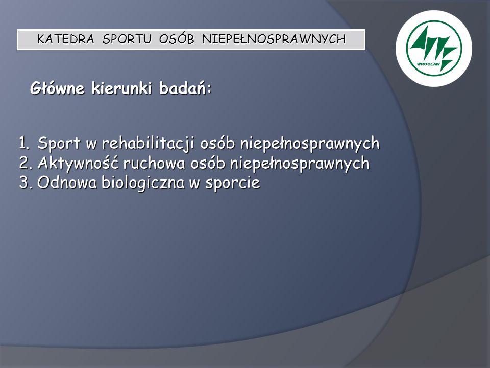 Główne kierunki badań: 1.Sport w rehabilitacji osób niepełnosprawnych 2.Aktywność ruchowa osób niepełnosprawnych 3.Odnowa biologiczna w sporcie KATEDR